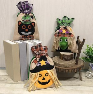 Halloween Candy Bags Beam Port Drawstring Treat Bags Sack Party Kids Gift Pouch Trick or Treat Witch Pumpkin Cat Decoration Bag