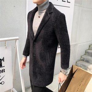 2020 autumn and winter coat men's mid-length slim woolen coat men's windbreaker thick suit