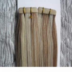 """100G Remy Tape In Human Hair Extension P8 613 16"""" 18"""" 20"""" 22"""" 24"""" Machine Made Remy Hair On Adhesives Tape PU Skin"""