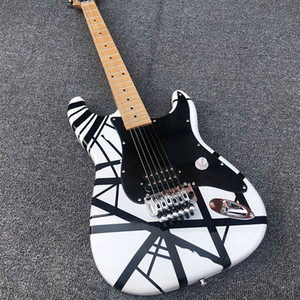 High quality electric guitar, black stripes, white paint, maple neck, bright fingerboard, double rocking, including freight