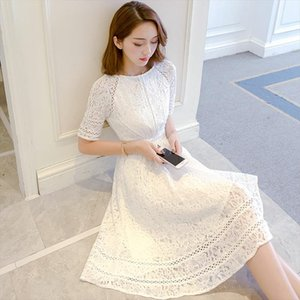 Lace Half Sleeve Retro Summer Flower White Dress Women Hollow Out Knee Length Slim Elegant Refined Evening Party Dress Vestidos
