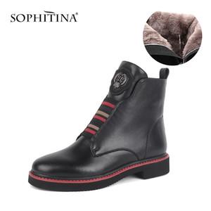 Sophina Stivaletti in pelliccia di lana di alta qualità Stivaletti in vera pelle di alta qualità Scarpe tacco quadrato comodo Tenere caldo stivali invernali rotondi caldo SC526 LJ201214
