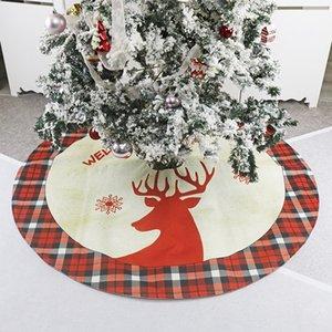 Linen Lattice Patchwork Top Grade Non-woven fabric Christmas Tree Skirt Apron Tree Ornament Deer Print Christmas Tree Skirts F9 Z1128