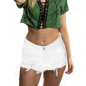 White Lace-up Side Destroy Ripped Denim Shorts Summer High Street Mid Waist Pocket Jeans Shorts Casual Women Denim
