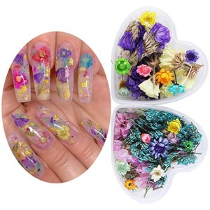 1 Box Mix Dried Flowers Nail Decorations Natural Floral Leaf Stickers 3D Nail Art Designs ForUV Gel Polish Tool Accessories