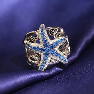 Кластерные кольца голубые морские звезды Серебряный цвет для женщин с Bling Ziron Coneen Wedding Overagement Симпатичные модные украшения