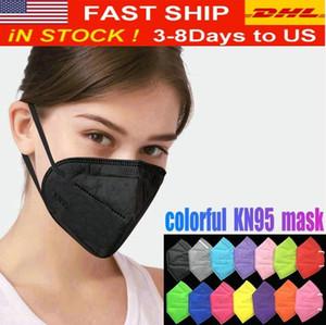 12 colores KN95 Máscara Fábrica 95% Filtro FFP2 Colorido Máscara de carbón activado Válvula respiradora de respiración 6 Capa Designer Face Mask Top Venta