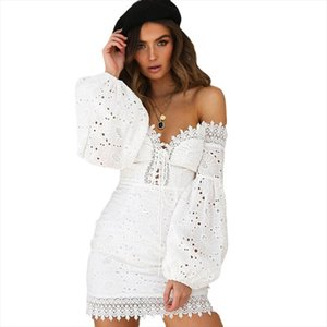 Paris Girl White Embroidery Elegant Spring Summer Bandage Dresses Women Beach Sundress Sexy Off Shoulder Party Wrap Bodycon