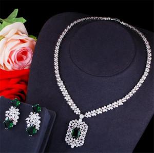 Wedding Dress Accessories Zircon Necklace Earrings Jewelry Set Red Blue CZ Cubic Zirconia Pendant Necklace Dropping Long Drop Earrings Set