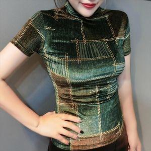 2020 Spring Summer European Clothes Pleuche Print Gold Plaid T shirt Women Tops Ropa Mujer Bottoming Shirt Tees T02222