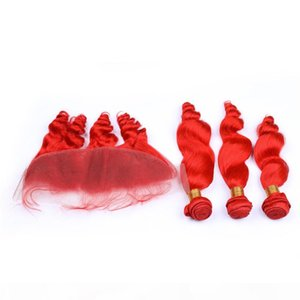 Loose Wave Virgin Brazilian Bright Red Human Hair Weaves with Frontal Red Colored Loose Wavy 3Pcs Bundles with 13x4 Lace Frontal Closure