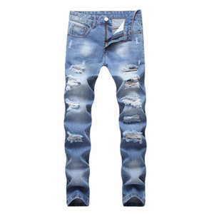 2021 Hot Sale Men's Sweatpants Fashion Street Wear Ripped Jeans Light Blue Male Straight Slim Denim Trousers Hommes Cowboy Pants