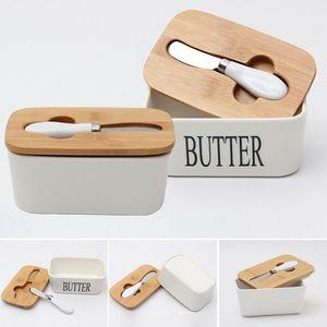 Dreamburgh Butter Caja de mantequilla Nordic Cerámica Almacén de almacenamiento Plato Queso Herramienta de comida Herramienta de cocina Cubierta de madera Placa de sellado + Cuchillo T200506