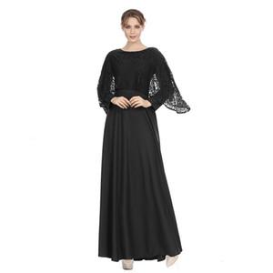 Müslüman Lady Büyük Boy Giyim Ulusal Rüzgar Cornes Yaz Kadın Vintage O-Boyun Uzun Kollu Casual Elbise L0615