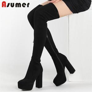 ASUMER estilo europeu sobre o joelho coxa alta botas mulheres super salto alto plataforma sapatos zip sexy casual festa sapatos senhoras