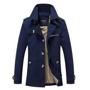 Thoshine бренд весна осень 100% хлопчатобумажная траншея мужская стройная пригонка отключить рулочные кнопки мужская мода верхняя одежда куртка ветровка
