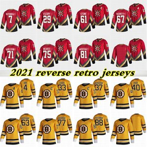 2021 Reverse Retro Jerseys 37 Bergeron 88 David Pastrnak 4 Bobby Orr 29 Fleury 75 Reaves 71 Karlsson 61 Mark Stone Hockey Jersey