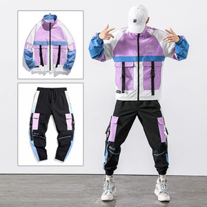 Hip Hop Workwear jacket Mens Tracksuit Jacket+Pants 2PC Sets Baseball loose Zipper Ribbons Coat & Long Pants Mens Clothing