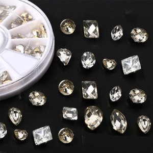 Double-sided Drill Champagne White Rhinestone for Nail Glitter Diamond Blossom Shape Decor Accessory Nail Art Jewelry Stone DIY