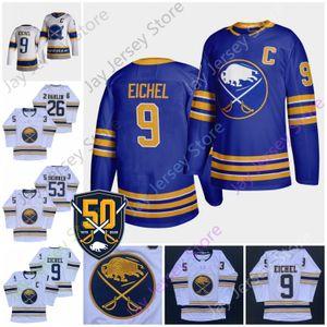 2021 Reverse Retro Buffalo Sabres Ice Hockey Jersey Jack Eichel Rasmus Dahlin Jeff Skinner 50th 50th Patch Size Adult S-3XL