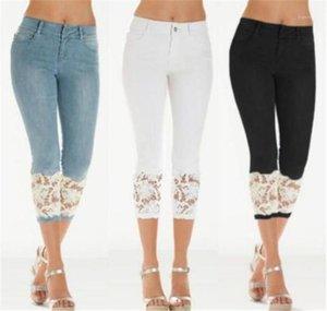 Jeans Skinny Designer Capris Damen Jeans Mode Solide Farbe Blaue Hose Spitze Slim Womens