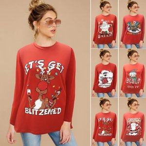 2020 Autumn and Winter Tops New Style Christmas Party Printed Large Size Crew Neck Groups T-shirt Long-sleeved Upper Garment Top