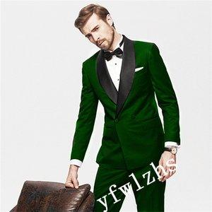 Popular Double-Breasted Groomsmen Shawl Lapel Groom Tuxedos Men Suits Wedding Prom Best Man Blazer ( Jacket+Pantst+Tie) Y201