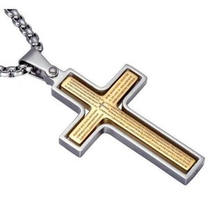 Collana Moda Boutique Mens Spinner Cross Pendant per uomo 4 colori Acciaio inossidabile Gioielli maschili 24