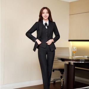 Mode Femmes Strosted Business Costumes Formal Professionnel Uniform Styles 3 pièces Veste Veste Vest Pantalons Ensembles Dames Work Wear Blazers