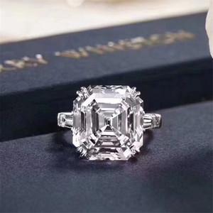Vecalon Royal Queen Promise Ring 925 Sterling Silver Asscher Cut 6CT 5A CZ Lujo Anillos de boda de lujo para mujeres Joyería nupcial