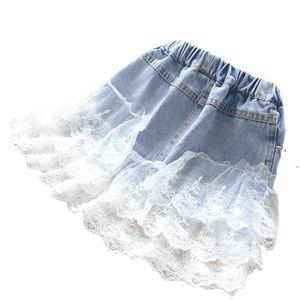 INS Girls Denim Skirt 2021 새로운 키즈 레이스 수 놓은 카우보이 스커트 어린이 캐주얼 Jean 스커트 어린이 옷 A5521