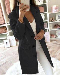 Ninimour Women Fashion Elegante Mantón Cuello Button Abrigo Damas Casual Manga Larga Sólido Outwear1