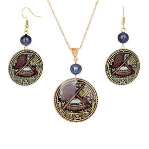 Jewelry Set of Acrylic Drop Accessories Simple Design Jewelry Set Pearl Printed Round Drum Pendant Women Hawaiian Jewelry Set