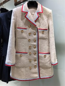 Autumn 2020 new vintage collared edge blazer with British design double-breasted wool jacket for women