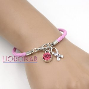 Wholesale Breast Cancer Awareness Bracelet Jewelry Pink Leather Hope Ribbon Charm Bracelets for Cancer Center Foundation Gift Y1119