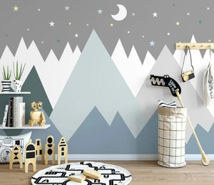 Bacal custom 3D wallpaper mural hand-painted cartoon geometric mountain moonlight living room bedroom huda bauty home decor