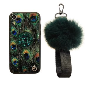 Wholesale Fashion Rhinestone Holder Retro Marble Fur Ball mobile phone Case for Samsung Note 10 PRO A10 A20