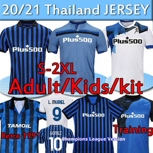 Atalanta FC Soccer Jerseys Gomez 2020 21 L.Muriel Ilicic de Roon Duvan 1991 92 Retro Atalanta Jersey Men Kit Kit Kit de Fútbol Camisetas Uniformes