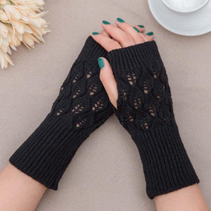 MISANANRYNE New 1 Pair Winter Ladies Gloves Fashion Half Finger Gloves Warm Solid Knitted Woolen Arm Warmer Female Sleeves Cover