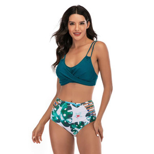 Sexy Halter Neck Two Piece Bikini Tropical Strappy Low back Swimsuit Floral Print Beachwear High Waisted Bikini Sets