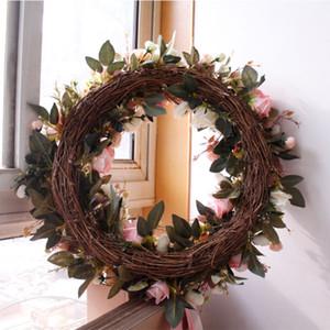 Sıcak Satış 20 inç Yüksek Kalite Pembe Gül Yapay Çiçek Çelenk Kapı Duvar Pencere Noel Ev Düğün Bahçe Dekorasyon HHE3396