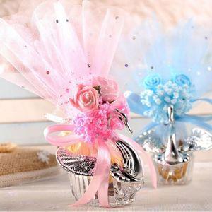 Cajas de dulces de cisne acrílico plata elegante cisne boda caja de caramelo clásico romance colorido cisne caramelo caja de regalo EEF3584