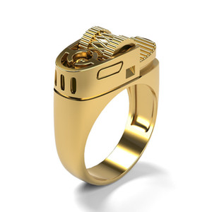 14k Gold Plated Creative Design Punk Lighter Shape Ring Hip Hop Jewelry Men Ring