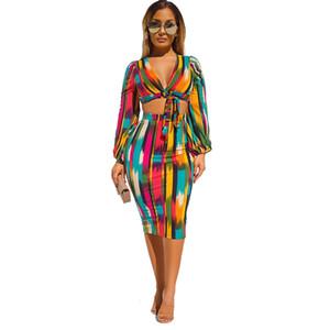 Kravat Boya Bayan Elbise Uzun Kollu V Boyun Renkli Çizgili Bandaj Iki Parçalı Elbiseler Kadın Giyim