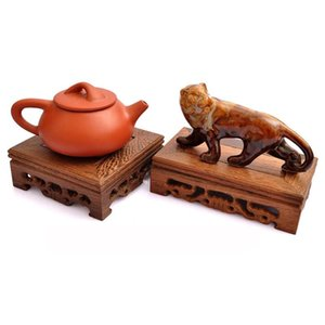 Wooden Retro Tray Table Delicate Small Square Teapot Base Vase Decor Solid Wood Bonsai Pedestal Wooden Base Serving Tray