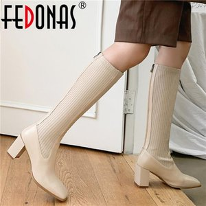 FEDONAS Elegant Beige Shoes Woman Heels 2020 Winter Genuine Leather High Heels Boots For Girls Female Party Knee High Boots