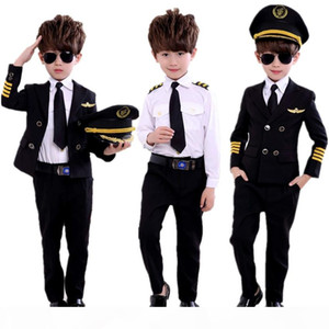 new fashion Children's Day Pilot Uniform Stewardess Cosplay Halloween Costumes for Kids Disguise Girl Boy Captain Aircraft Fancy Clothi