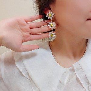 Boucles d'oreilles pour femmes de fleurs de cristal jaune élégantes pour femmes Pendientes Pendientes Bijoux