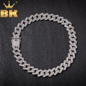 Bling King 20mm Prong Cuban Link Chains Ожерелье Мода Hiphop Ювелирные Изделия 3 ряд Стразы Земные Ожерелья Для Мужчин Q1121