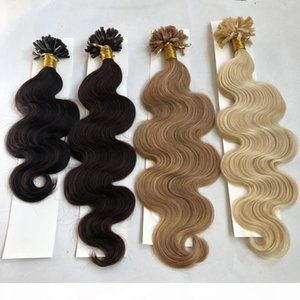 100g pack U Nail Tip Pre-bonded Fusion Hair Extensions Body Wave 100strands pack Keratin Stick Brazilian Human Hair #1B Black #8 Brown #613